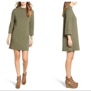 LEITH Textured Olive Green Nordstrom's Shift Dress